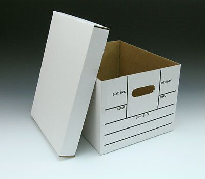 "15"" x 12"" x 10"" printed file storage boxes with lid - white (10 boxes)"