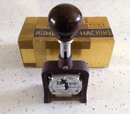 Vintage bates numbering machine stamp 6 wheel standard movement style e euc
