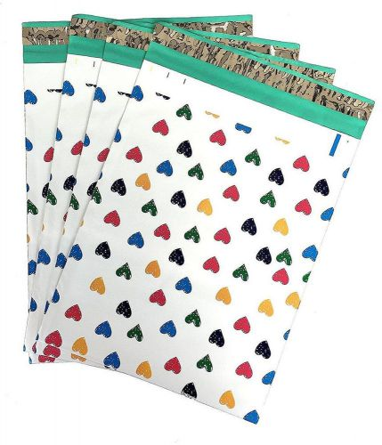 10x13 (100) colorful hearts designer poly mailers shipping envelopes boutique...