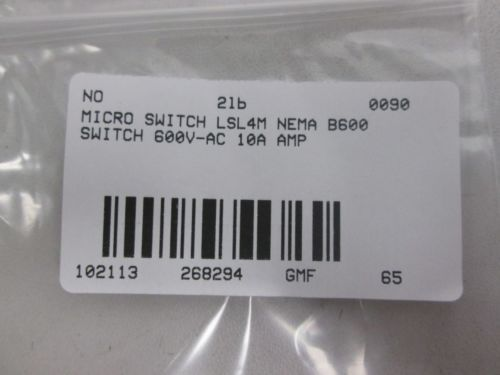 NEW MICRO SWITCH LSL4M NEMA B600 LIMIT SWITCH 600V-AC 10A AMP D268294, US $23.75 � Picture 4