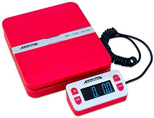 Accuteck shippro w-8580 110lbs x 0.1 oz red digital shipping postal scale lim...