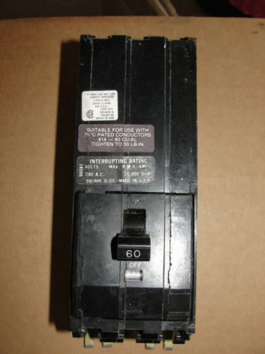 Square d  circuit breaker  60 amp 3 pole used