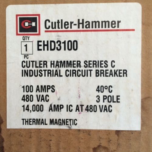 Cutler Hammer EHD 14k 3 pole 100 amp 480v EHD3100 Circuit Breaker, US $200.00 � Picture 2