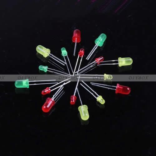 100pcs round head light emitting diode led 3mm 5mm red green yellow mix color