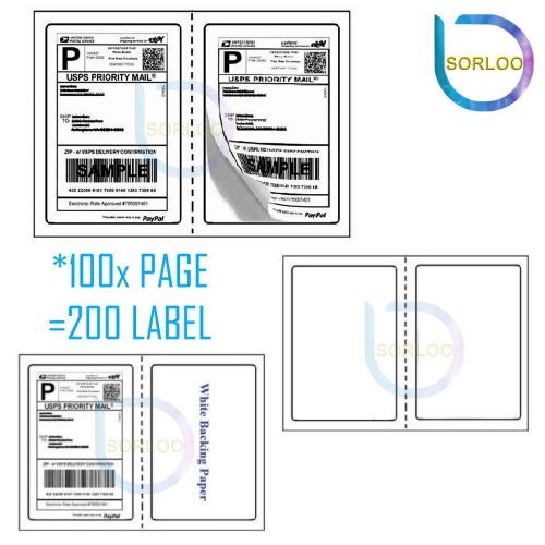 200 Perforated Shipping Labels Round Corner USPS UPS