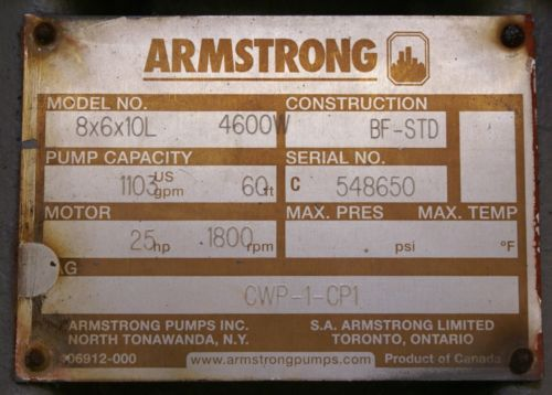 Armstrong Model 8x6x10L 4600W Centrifugal Pump 25 HP 1,103 GPM 60