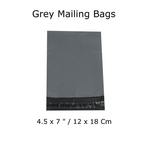 "100 grey mailing bags postage strong waterproof polythene mail 4.5 x 7 "" inch"