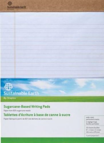 Staples sustainable earth wide ruled perf notepad white 8-1/2x11-3/4 12pk 16767