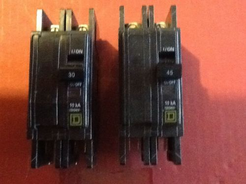 (2) square d type qou 230 245 30 45 amp 240v 2 pole spade connections