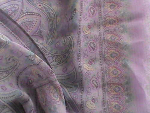 "Silk chiffon oblong scarf 19"" x 66"" violet blue raspberry paisley ColdwaterCreek, US $9.99 � Picture 1"