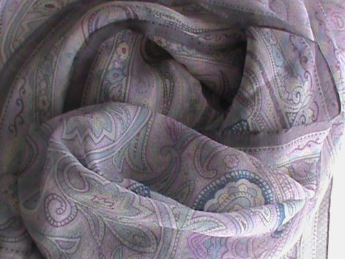"Silk chiffon oblong scarf 19"" x 66"" violet blue raspberry paisley ColdwaterCreek, US $9.99 � Picture 4"