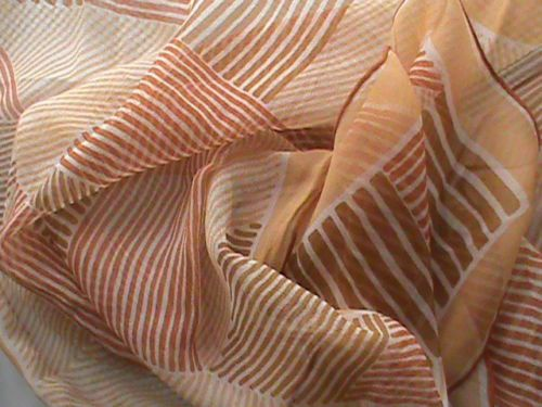"UGRA sheer chiffon 24"" square scarf tan beige brown orange geometric ladies, US $6.99 � Picture 2"
