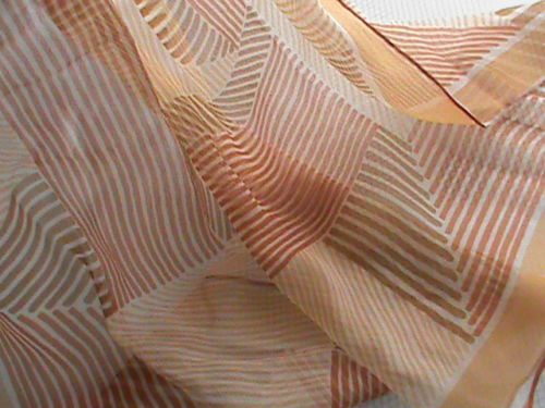 "UGRA sheer chiffon 24"" square scarf tan beige brown orange geometric ladies, US $6.99 � Picture 3"