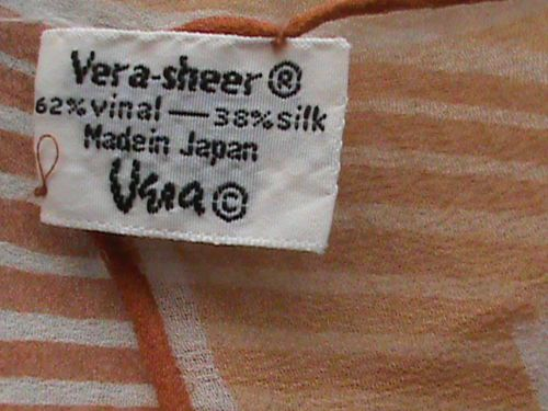 "UGRA sheer chiffon 24"" square scarf tan beige brown orange geometric ladies, US $6.99 � Picture 8"