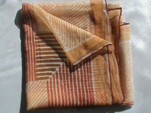 "UGRA sheer chiffon 24"" square scarf tan beige brown orange geometric ladies, US $6.99 � Picture 10"
