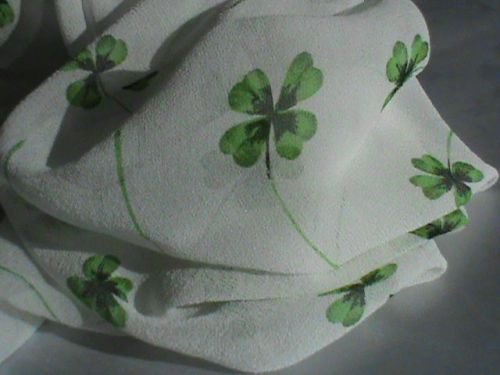 "Echo sheer white chiffon 19"" square scarf lucky green four-leaf clover ladies"