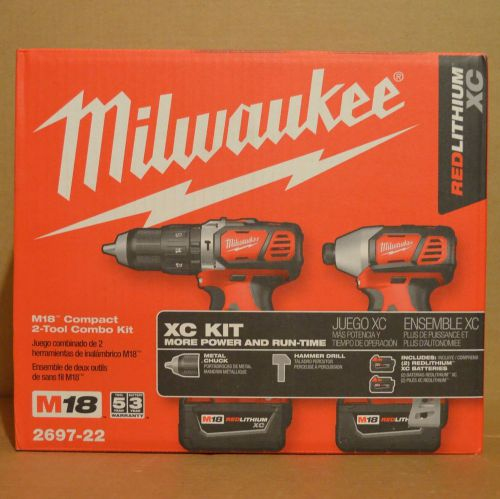 "Milwaukee 2697-22 (2607-20 1/2"" hammer drill + 2656-20 1/4"" hex compact driver)"