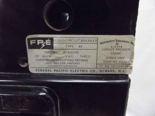 Federal Pacific Fusematic Circuit Breaker 100 Amp 600 Volt Part # XF-632100, US $350.00 � Picture 5