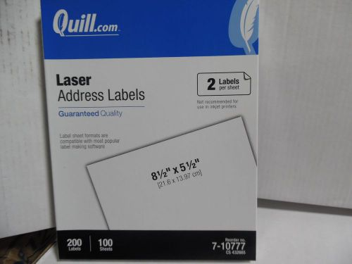 brand new quill laser address labels 7 10777 size 81 2 x 51 2 fast