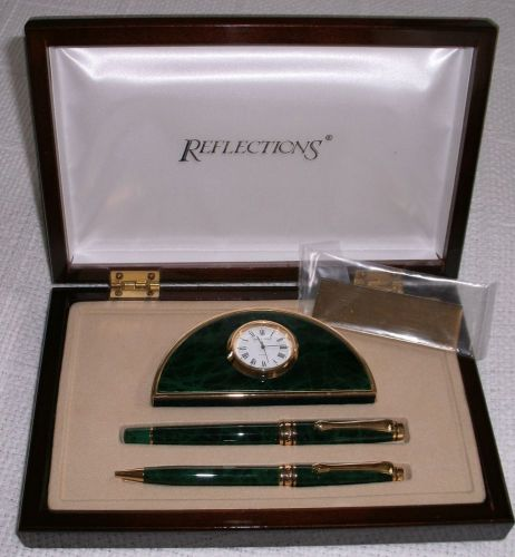 Reflections fine writing instruments pen/clock desk set-- green marble