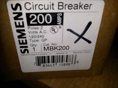 Siemens mbk200 eq9685 new in box 200a 240v main breaker typr qp #b41