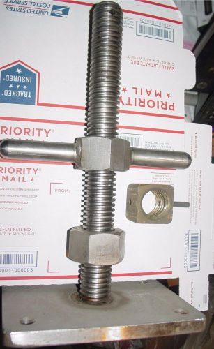 "Adjustable 1-1/4"" x 12 in. stainless steel leveling screw jack with base plate"