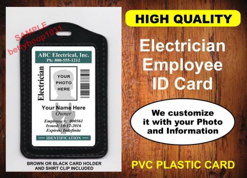 Electrician employee id badge / card  custom w/ your photo & info usa company id