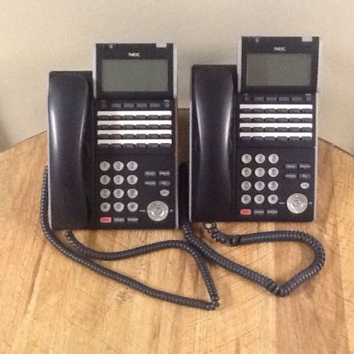 Lot of (2) nec itl-24d-1 (bk) voip telephones ilv(xd)z-y (bk) dt700 series