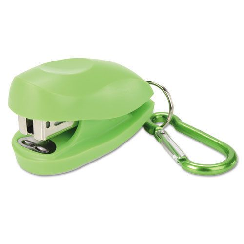 Tot mini stapler carabiner plus pack, 12-sheet capacity, green/blue, 2/pack