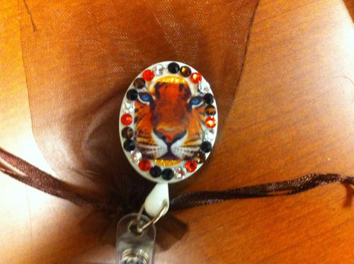 Tiger id holder, Swarovski Crystal Retractable reel,, FREE SLEEVE, US $23.75 – Picture 1