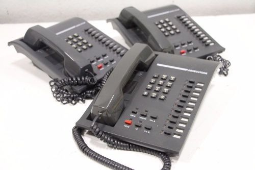 Lot of 3) executone commercial isoetec ids 82200-4 17k/d telephone handset phone