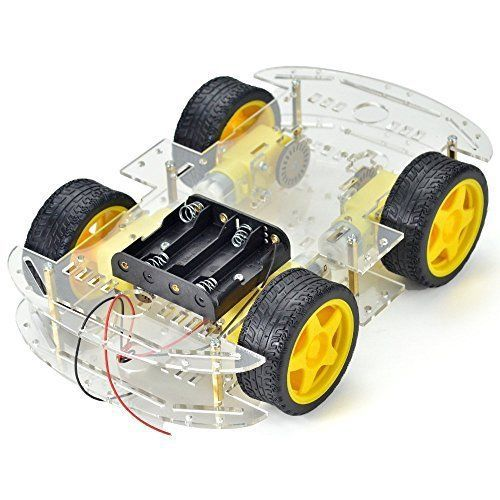 Makerfire 4-wheel robot smart car chassis kits car model with speed encoder for