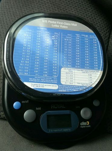 Royal (ds3) 3lb capacity battery operated postal rate digital scale only *read*