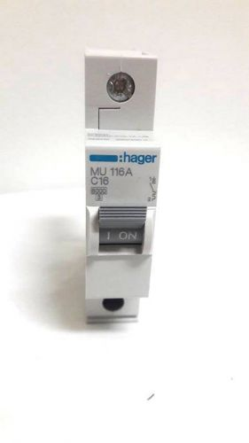 New hager mu116 single pole type c 16a miniature circuit breaker mcb