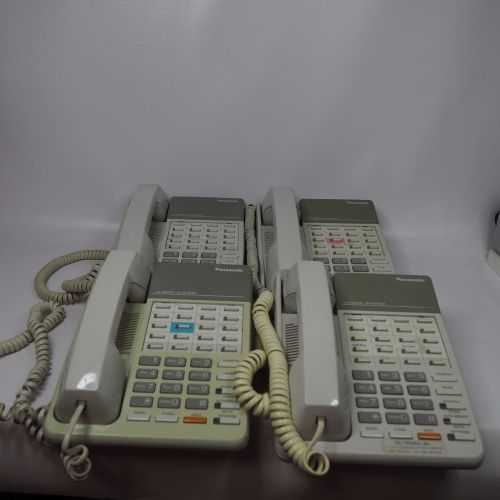 Lot of 4 panasonic hybrid system digital white phones kx-t7020