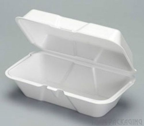 Genpak 21900 large foam hinged hoagie/burrito container 9.5 x 5.25 x 3.5 200/cs