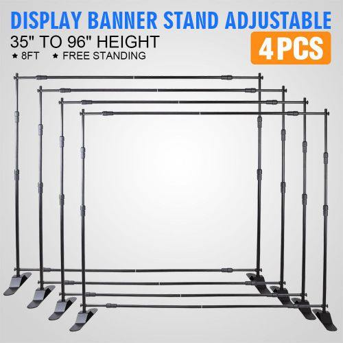 4pcs 8' banner stand advertising printed set exhibition portable promotion