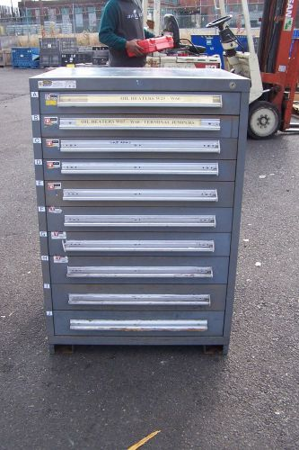 "Stanley vidmar grey 10 drawer industrial tool/parts cabinet 30""l x 28""w x 45"" h"