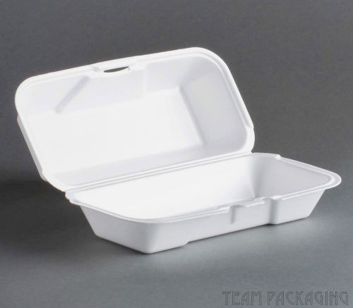 "Genpak 21600 mediumfoam hoagie hinged container 8.5""x4""x3"" 500/cs"