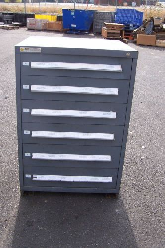 "Stanley vidmar grey 6 drawer industrial tool/parts cabinet 30""l x 28""w x 45"" h"
