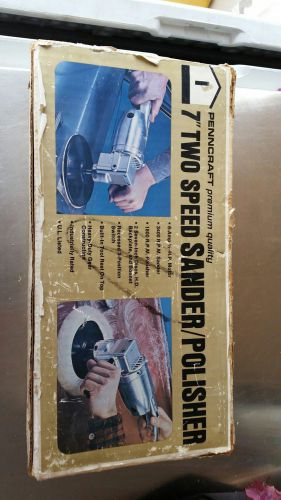 "Vintage heavy duty penncraft 2 speed 7"" sander polisher (made in usa)"