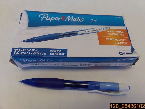 Pk of 12, paper mate 1753366 retractable gel pens, bold point, blue