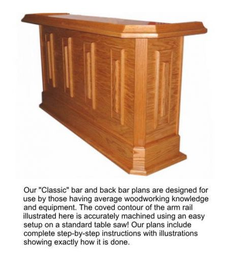 Home bar plans classic straight line design 7 feet long. pdf file sent by email.