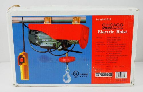 Chicago electric 220lb single cable, 440lb double cable electric hoist 40765