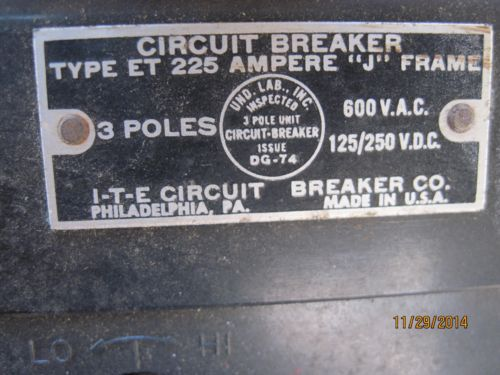 ITE  CIRCUIT BREAKER. TYPE ET 225 AMP, J FRAME 3 poles, US $89.99 � Picture 2