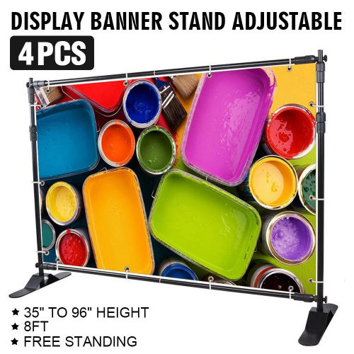 "4pcs 8' banner stand advertising printed set 54"" to 96"" display show wise choice"