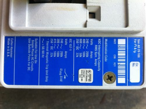 WESTINGHOUSE SERIES C,CIRCUIT BREAKER,KDC 100K,400AMP,600VAC,3 POLE, US $1,750.00 � Picture 8