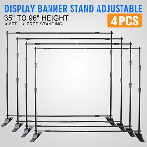 4pcs 8' banner stand advertising printed set trade potable portable transport