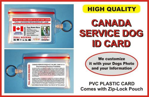 Service dog id card >>>canada<<< holographic card comes with zip-lock pouch