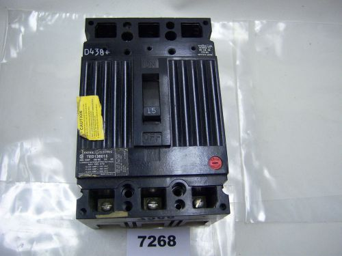 (7268) GE Circuit Breaker TED136015 15A 600 VAC 3P, US $76.22 – Picture 1